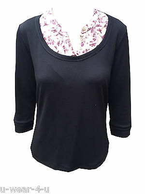 LADIES EX FAMOUS STORES FLORAL LAYERED SHIRT JUMPER COMBO TOP CHARCOAL NAVY M/&5