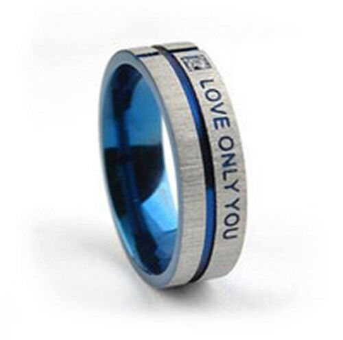 CZ Blue Steel- Love & Commitment Ring - Couples Promise Rings Only Love You Ring