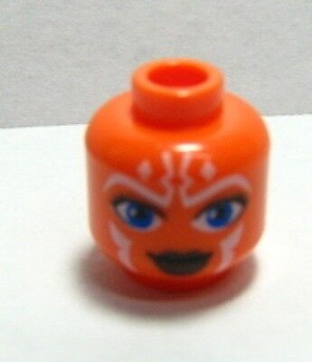 Lego 20 Minifig Head Alien with Blue Eyes and Red Lips Pattern Asajj Ventress