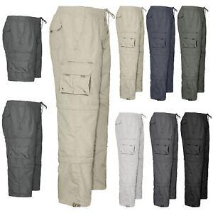 Mens-3-in-1-Elasticated-Waist-Summer-Cargo-Combat-Trousers-lightweight-Pants