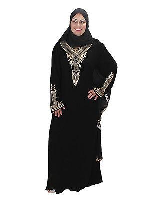 Dubai Abaya im Islamischen Stil Festkleid mit Schleier in schwarz ABY00343