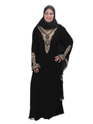 Dubai stile velo in Abaya nero Abito Aby00343 islamico con t4Yw6wqd