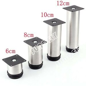 Image Is Loading 6 12cm Metal Stainless Steel Furniture Leg Feet