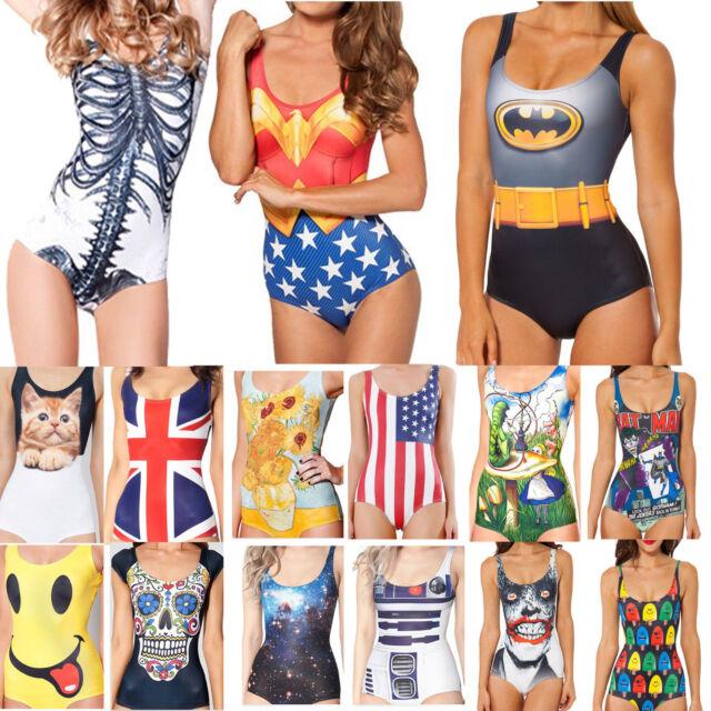 Sexy Women's Swimwear Digital Printing One-Piece Bikini Swimsuit Beachwear Dress