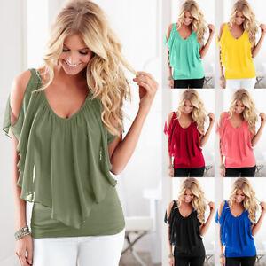 Womens-Cold-Shoulder-T-Shirt-Ruffle-V-Neck-Short-Sleeve-Summer-Casual-Blouse-Top