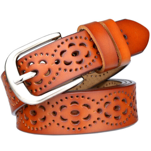 Women Hollow Buckle Leather Waist Belt Wide Stretch Jeans Casual Waistband Belts