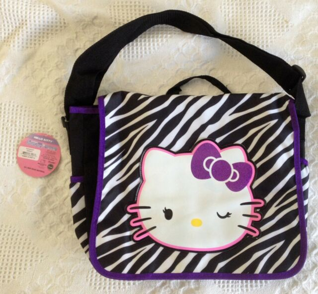 9bdb962d31db Brand New Sanrio Hello Kitty Zebra Pattern Messenger Bag Purple Trim  Glitter Bow