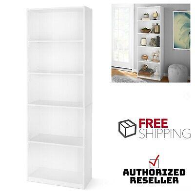 5-Shelf Adjustable Bookcase Open Storage Shelving Bookshelf Wooden White 71 in