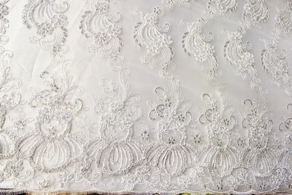 fancy embroidery fabric with sequins on polyester mesh, lace fabric , 9 colors,