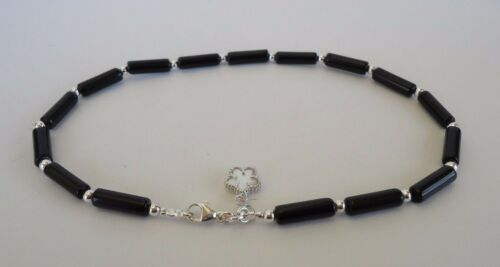 925 STERLING SILVER ANKLET W// BLACK ONYX /& MOTHER OF PEARL FLOWER CHARM// 10/'/'