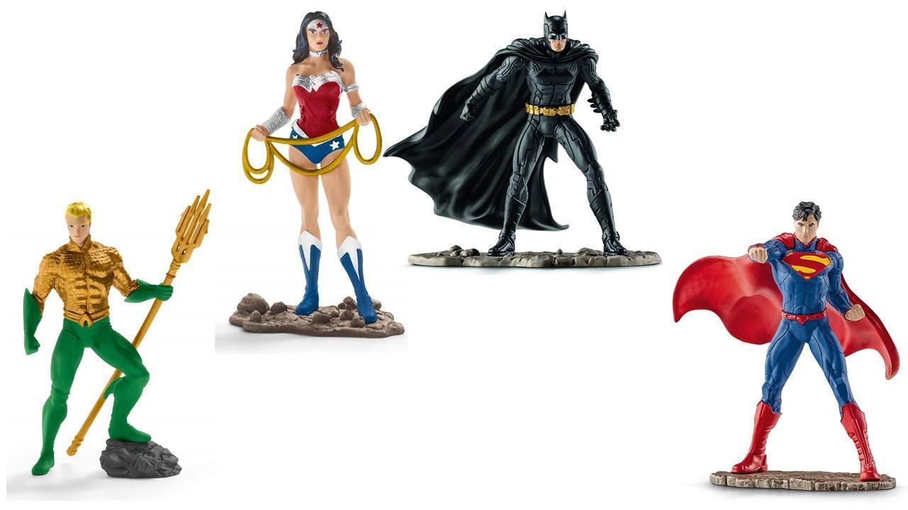 DC Comics SCHLEICH Justice League Aquaman Wonder Woman Batman Superman 4 Figures