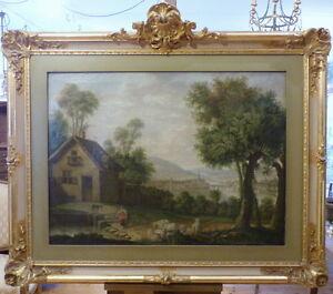 Deutscher-Meister-Romantik-18-Jahrhundert-Flusslandschaft-mit-Bauernhaus-Magd