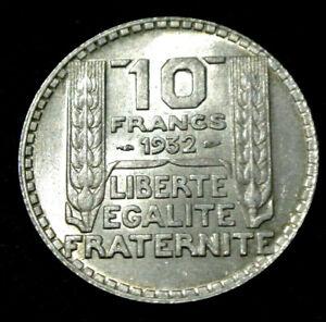 10-FRANCS-TURIN-ARGENT-1932-SPL-BRILLANT-frappe-etat-dur-trouve-RARE-petit-prix