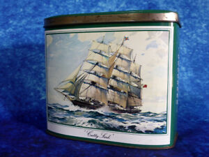 Vintage-CUTTY-SARK-Tea-Tin-Food-Drink-Advertising-Unique-storage-solutions