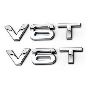 2PCS-Auto-Aufkleber-V6T-Emblem-Karosserie-3D-Metall-Abziehbilder-fuer-Audi