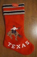 Texas Stocking By St. Nicholas Square Christmas Xmas Cowboy On Horse