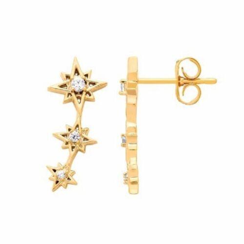 Estella Bartlett Star oreja Crawlers pendientes-Chapado en Oro