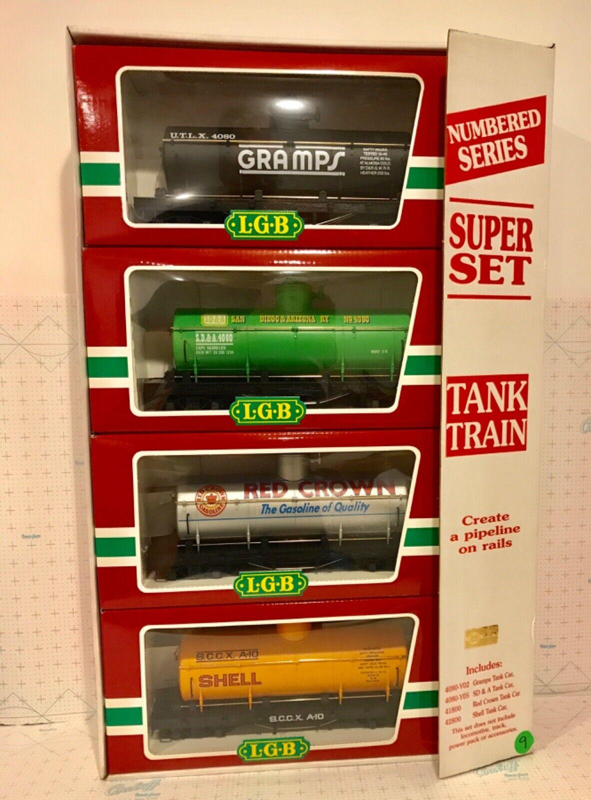 LGB G SCALE 4PC TANK SUPER SET 4080-Y05, 4080-Y02, 4180 && 4280 NEU IN BOXES