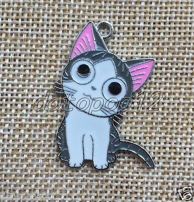 Lot Cartoon Cute Cat Enamel Metal Charms Pendants DIY Jewelry Making C653