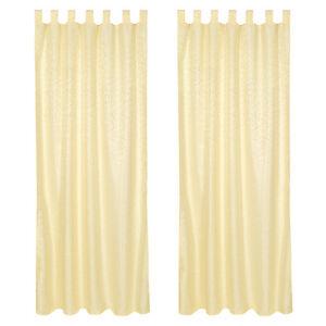 2x blickdichter vorhang gardine mit schlaufen schlaufenschal fensterschal gelb ebay. Black Bedroom Furniture Sets. Home Design Ideas
