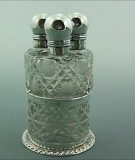 TRIO OF ANTIQUE SILVER & GLASS PERFUME BOTTLES & SILVER STAND 1904