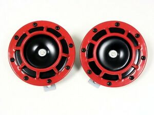 Quantity 2 Extremely LOUD for Car Bike Motorcycle Truck for Porsche 356 911 912 930 914 924 928 944 959 968 Boxter Carrer DUAL Super Tone LOUD Blast 139Db Universal Euro RED ROUND HORNS High Tone // Low Tone Twin Horn Kit with Bracket Pair Compact