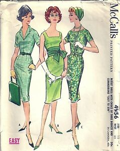 McCall/'s 4145 Size 12 RARE Bust 32 Counted /& Complete 1950/'s Vintage Sewing Pattern Misses/' Princess Sheath with Large Collar