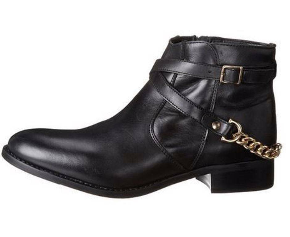 Escudriñar Pesimista muestra  Women's Shoes Steve Madden RINGOO Ankle Boots Booties Leather Black Gold  Chain for sale online