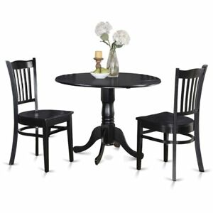 Details about 3 PC small Kitchen Table and Chairs set-round Kitchen Table  and 2...