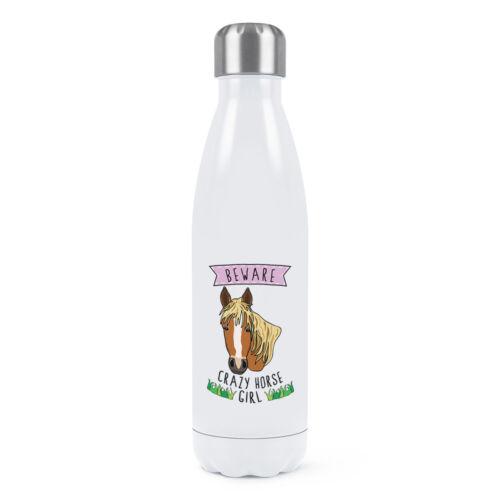 Méfiez-vous Crazy Horse girl double paroi Bouteille d/'eau Drôle Animal Blague thermique