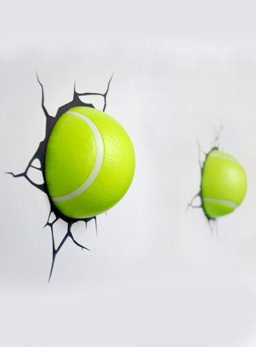 Enfant Garçon 3d Autocollant Ballon Lampe Lumière Led Mural Fille Tennis qzMVpGUSL