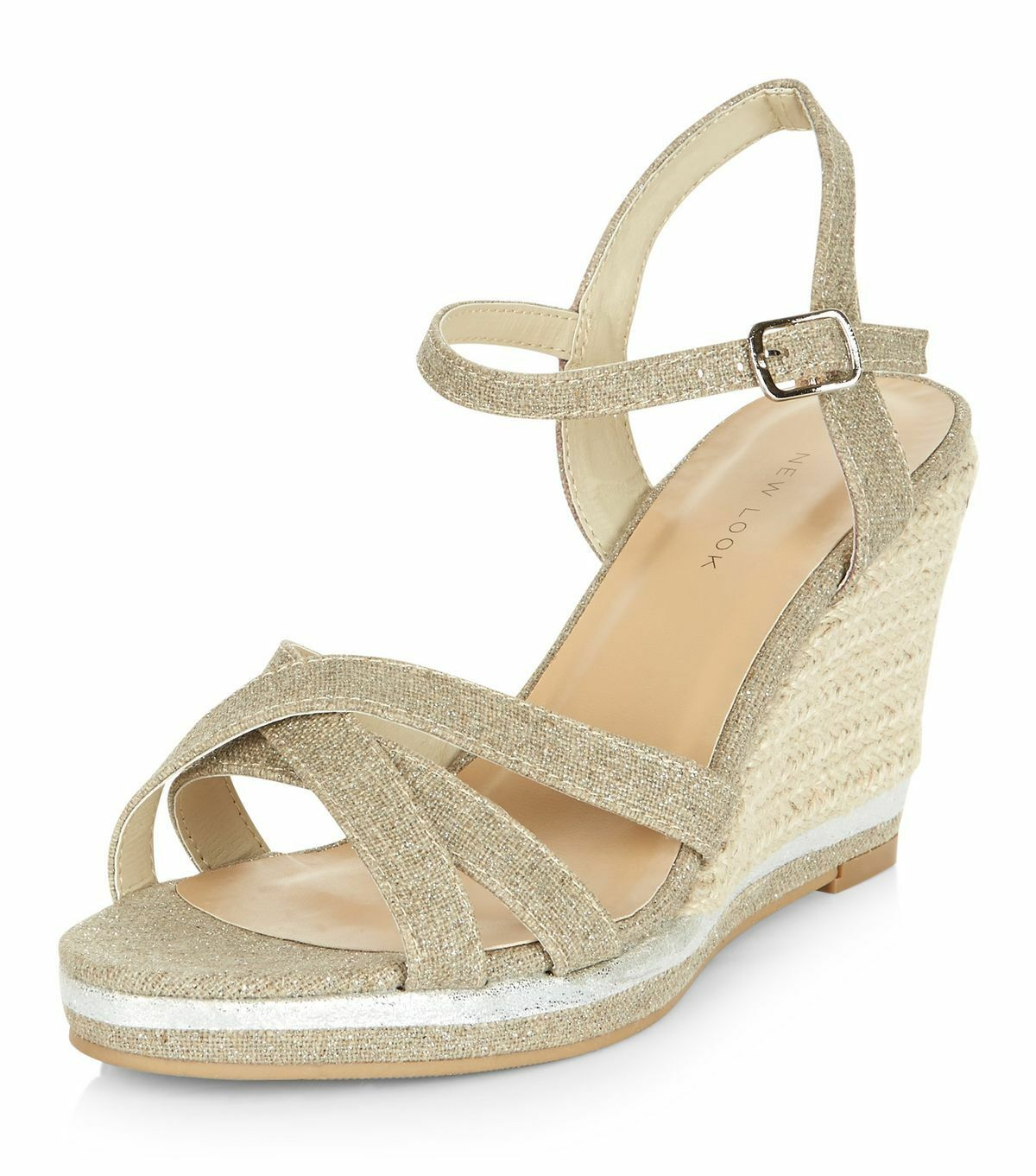 WOMENS NEW LOOK SIZE 9 43 SILVER BEIGE WEDGE SLINGBACK TRANSVESTITE CD SHOES BN
