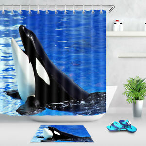 Image Is Loading The Happy Whale Orcinus Orca Bathroom Shower Curtain