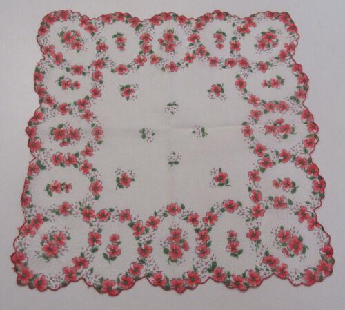VINTAGE 1950s HANDKERCHIEF FLOWERS SPIDER WEBS RED