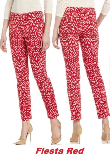 MSRP $79 Jones New York 5-Pkt Fiesta Red Printed Stretch Cropped Jeans