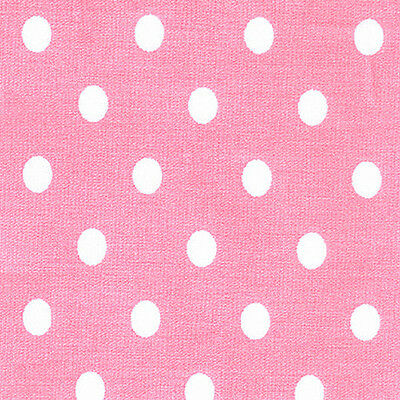Cotton 100% Dressmaking Bed 7mm White Polka dot on Pink