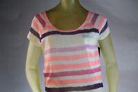 Roxy Women's Scoop-neck Sweater Knit Top Multi-color Stripe Size Large