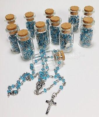 12PC-Baptism Favors Glass Bottle Rosary Keepsake Recuerdos Communion Bautizo