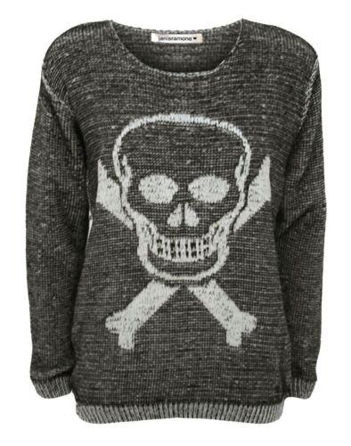 New Womens Halloween Skull Bones Cross X Chunky Knitted Jumper Warm Sweater Top