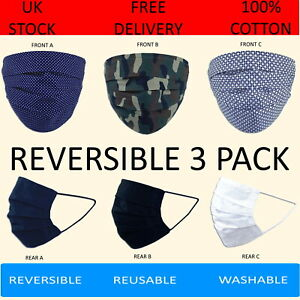 Pack of 3 100% Cotton Face Masks Washable Reusable Camouflage  Reversible