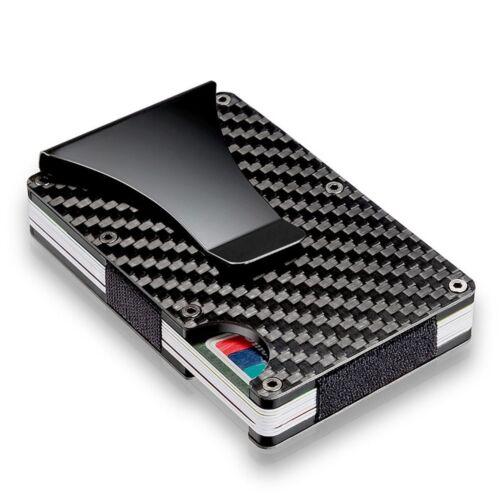 Slim Carbon Fiber Credit Card Holder RFID Blocking Metal Money Clip Purse GL