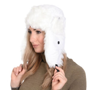 NEW TRAPPER HAT WHITE WITH WHITE FAUX FUR TRIM UNISEX SIZE 59CMS  59cee3ce73b