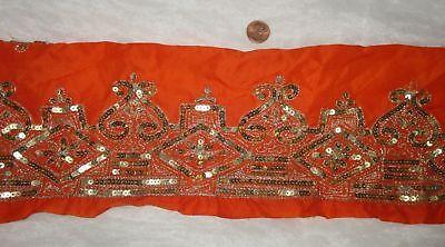 Vintage Antique Border Sari Trim Lace RARE OLD WEAVING GOLD ZARI 3 ft #ABE7R