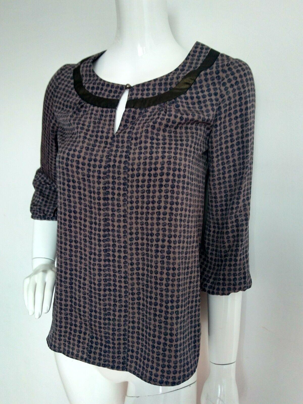 Designer EDINA RONAY loose blouse Größe 8 --USED ONCE-- mocha navy 3 4 Sleeve