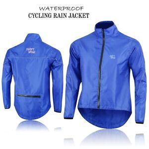 Mens-Cycling-Waterproof-Rain-Jackets-High-Visibility-Running-Top-Coat-Blue