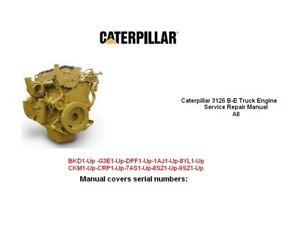 caterpillar 3126 b e cat 3126 b e truck engine service repair manual