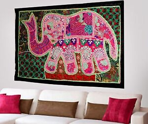 HANDMADE-ELEPHANT-BOHEMIAN-PATCHWORK-WALL-HANGING-EMBROIDERED-TAPESTRY-INDIA-X49