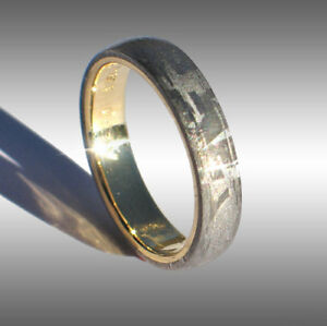 Custom Made Real Gibeon Meteorite Ring Wedding Band 072 In 18k