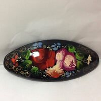 Russian Hand Painted Barrette Hair Pin Signed By Artist Made In Russia