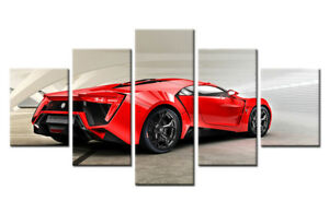 Red Sports Car Hd Print On Canvas Painting Modular 5 Pieces Pictures Wall Poster Ebay